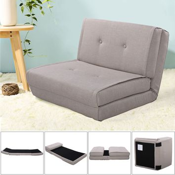 Giantex Fold Down Sofa Bed Living Room Flip Out Lounger Convertible Sleeper Bed Couch Game Modern Sofa Chairs HW52681LTGR