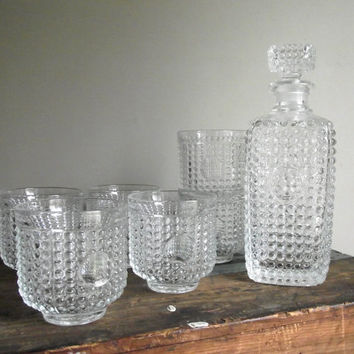 Vintage Decanter Set / Clear Hobnail Glass Barware / Glass Decanter and 6 Tumbler Glasses / Mid Century Decor