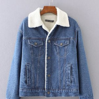 Fashion Women Jeans Denim  Sweater Cardigan Coat Jacket Outerwear _ 9479