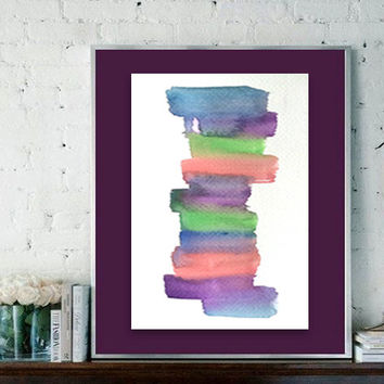 Abstract Watercolor Painting - original contemporary fine art - ombre gradient - colorblock - stripes - minimal - colorful