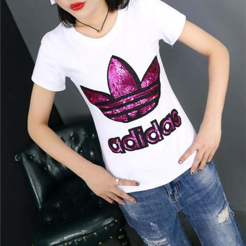 Adidas Fashion Casual Clover Letter Embroidery Sequin Round Neck Short Sleeve T-shirt Shirt Top Tee-1