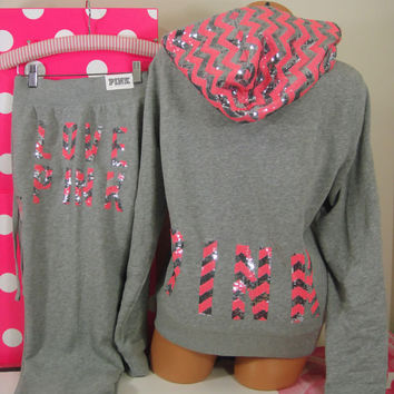 Victoria's Secret L/M set ~Pink~ Zigzag Silver Bling Hoodie & Signature Fit pant