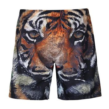 Men's Beach Pants Tiger Head Printed Surfing Shorts Quick-drying Board Shorts M-3XL Plus Size Summer Running Short Trousers