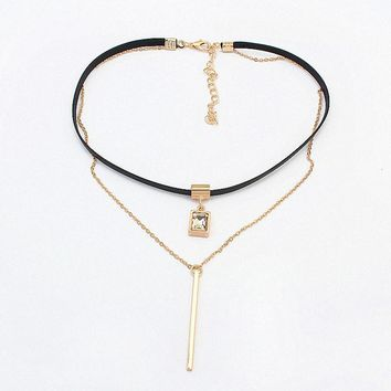 New Fashion Retro Geometric&Crystal Pendant Collar Double chains leather simple choker necklace gift for women girl 122906
