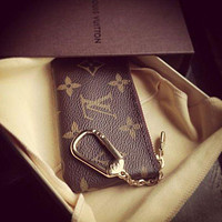 【Louis Vuitton】LV Women Girl Small Bag Monogram Canvas Key Pouch LV Print