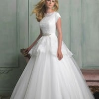 Allure Modest M510 Lace Ball Gown Wedding Dress
