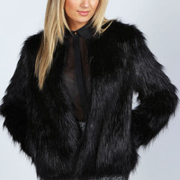 Rachel Black Edge To Edge Faux Fur Coat
