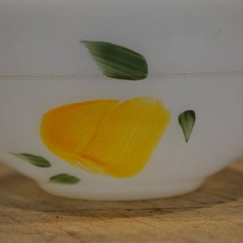 Vintage Fire King Small Mixing Bowl, Vintage Serving Bowl, Pear, Fire King Fruit Bowl, Painted Fire King, Yellow Fire King,
