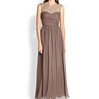Metallic Silk Chiffon Gown