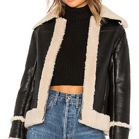 MOTHER The Boxy Zip Moto Faux Leather Jacket in Leader Of The Pack