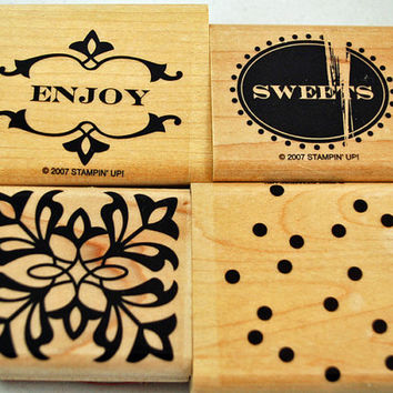 """STAMPIN UP Rubber Stamps - RETIRED from 2007 -  """"Sweet Sampler"""" - Art Nouveau - Scrapbooking, Cardmaking, Crafts, Tags"""