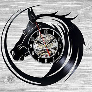 Horse Wall Clock Vinyl Record Art Decor Vintage