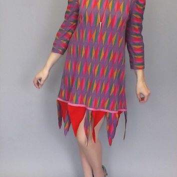 Vintage 1980's 90's Mini Jester Costume Dress Short Party Punk Renaissance Fair Medium Large Geometric Avant Garde Medieval Dress