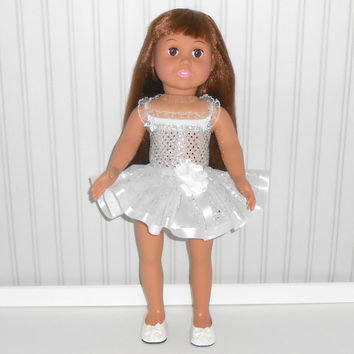 White Dance Outfit for 18 inch Doll Clothes with Sequin Leotard and Ribbon Tutu American Doll Clothes