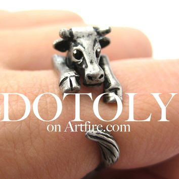 Cow Bull Animal Wrap Around Ring in Silver - Sizes 4 to 9 Available