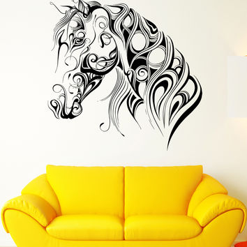 Wall Vinyl Sticker Decal Pattern Horse Head Animal Art Racehorse Mane (ed405)