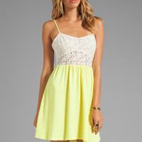 Testament Crochet Mini Dress in Lime from REVOLVEclothing.com