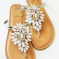 Elegant Shoes by Zee Sandals, Summer Sandal with Sparkling Jewels for Destination Beach Wedding (Style: LIUBIC)