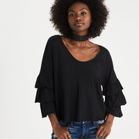 AEO Soft & Sexy Relaxed Tiered-Sleeve Top, True Black