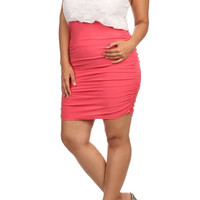 Pearl Collar Lace Bodycon Dress - Coral - Plus Size