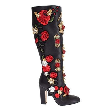 Dolce & Gabbana Black Red Roses Crystal Gold Heart Leather