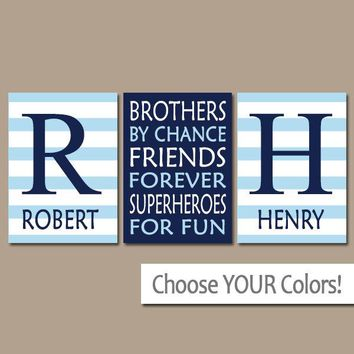 BROTHERS Wall Art, Brothers Decor, Boy Bedroom Decor Canvas or Prints Boy Quote Decor, Shared Brother Room, Friends Superheroes, Set of 3