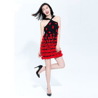 Black Casual Red Flower Lace Embroidered Sleeveless Mini Dress