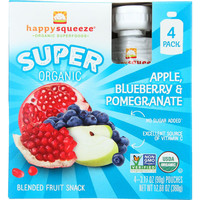 Happy Squeeze Fruit Snack  Organic  Blended  Super  Apple Blueberry And Pomegranate  4-3.17 Oz  Case Of 4