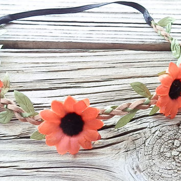 Red Daisy FLOWER Crown, Boho flower headband, Sunflower crown, Festival flower hair band, wedding headband, Floral Head wrap