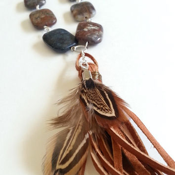 Jewelry, Necklace, Tassel Necklace, Leather Tassel, Feather Necklace, Long, Real Feather, Leather Necklace, Tassle, Pietersite, Stone,