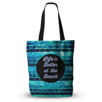 "Ebi Emporium ""Life is Better at the Beach"" Blue Aqua Everything Tote Bag"