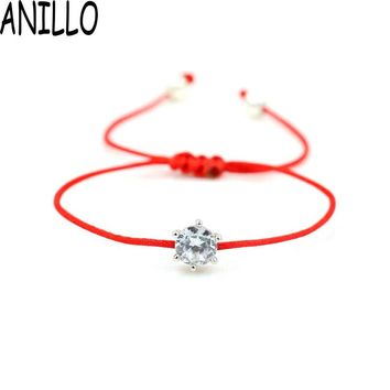 ANILLO Women Red Rope Thread String Bracelet Silver Color AAA Cubic Zirconia Lucky Braided Charms Adjustable Bracelet