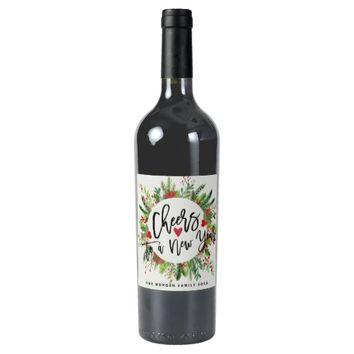 Cheers to a New Year Script Holly Wreath Greeting Wine Label