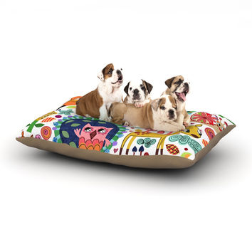 """Jane Smith """"Woodland Critters"""" Colorful Cartoon Dog Bed"""