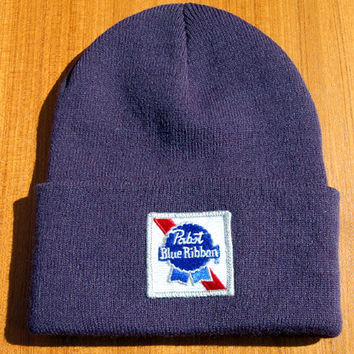 Pabst Blue Ribbon Beer Knit Cap Beanie Hat With Vintage Patch Milwaukee