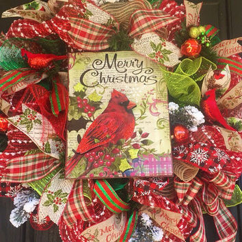 Christmas deco mesh wreath,Rustic Christmas wreath,christmas mesh wreath,Winter wreath,holiday mesh wreath,front door wreath,cardinal wreath