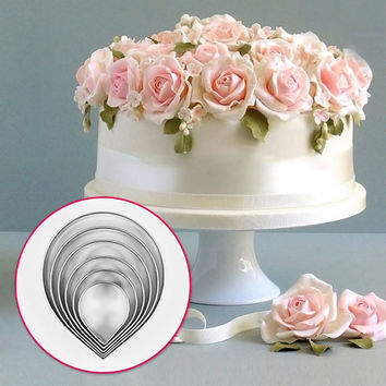 6pcs Kitchen Baking Tool Fondant Party Wedding Decor Water Droplet/Rose Petal Cookie Cake Cutters Biscuit Pastry Cute ZH819