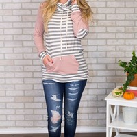 Solid and Striped Cowl Neck- Mauve