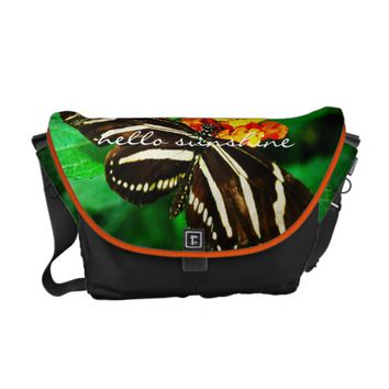 """Sunshine"" black butterfly photo messenger bag"
