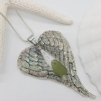 Angel wings seaglass necklace, beach necklace, beach jewelry, ready to ship, gifts for her, gift for mom