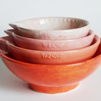 Ombre Nesting Measuring Cup Set of Four - Coral and Pink Summer - Hand Painted - Made To Order