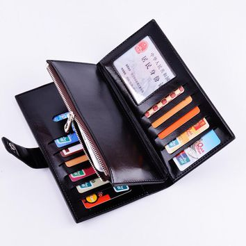 Nice New Style Men Women Long Wallets Famous Brand Men Lady Waxy PU Leather Wallet Purses Multifunctional Billfold Card Holders