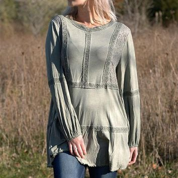 Lace Inset Tunic - Olive