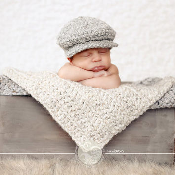 Baby Boy Irish Donegal Cap, Preemie/Newborn Baby Boy Crochet Irish Donegal Baby Hat - 10 Colors Available Tweed Wool Photo Prop Baby Boy Hat