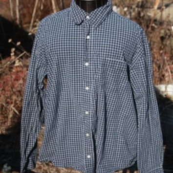 Old Navy Blue Plaid Long Sleeve Button Up Shirt ~Mens XL~