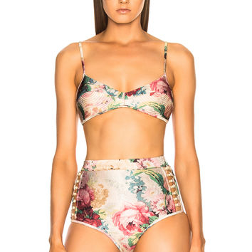 Zimmermann Melody Bullet Bikini Top in Taupe Floral   FWRD