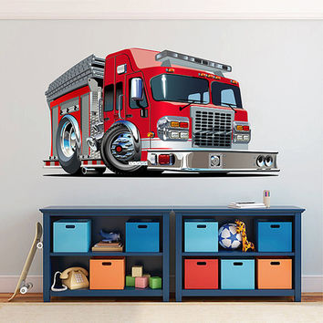 kcik1544 Full Color Wall decal cool fire truck bedroom children's room