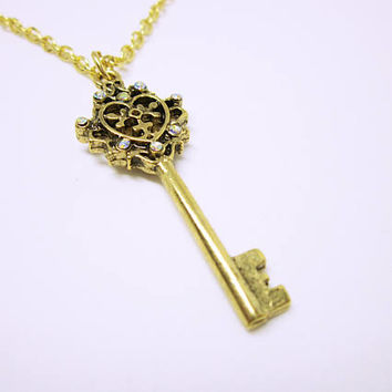 JEWELRY NECKLACE Gold Heart Key Necklace Heart Key Jewelry Key With Crystals On Gold Chain Gold Heart Key Pendant