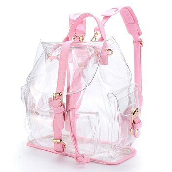 2017 New Female Backpack Women's Clear Plastic See Through Security Transparent Backpack Bag Travel Bag Sac A Dos Femme A0714
