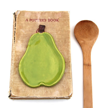 Pear Spoon Rest - Jewelry Tray Soap Dish - Bright Lime Green - Ready to Ship
